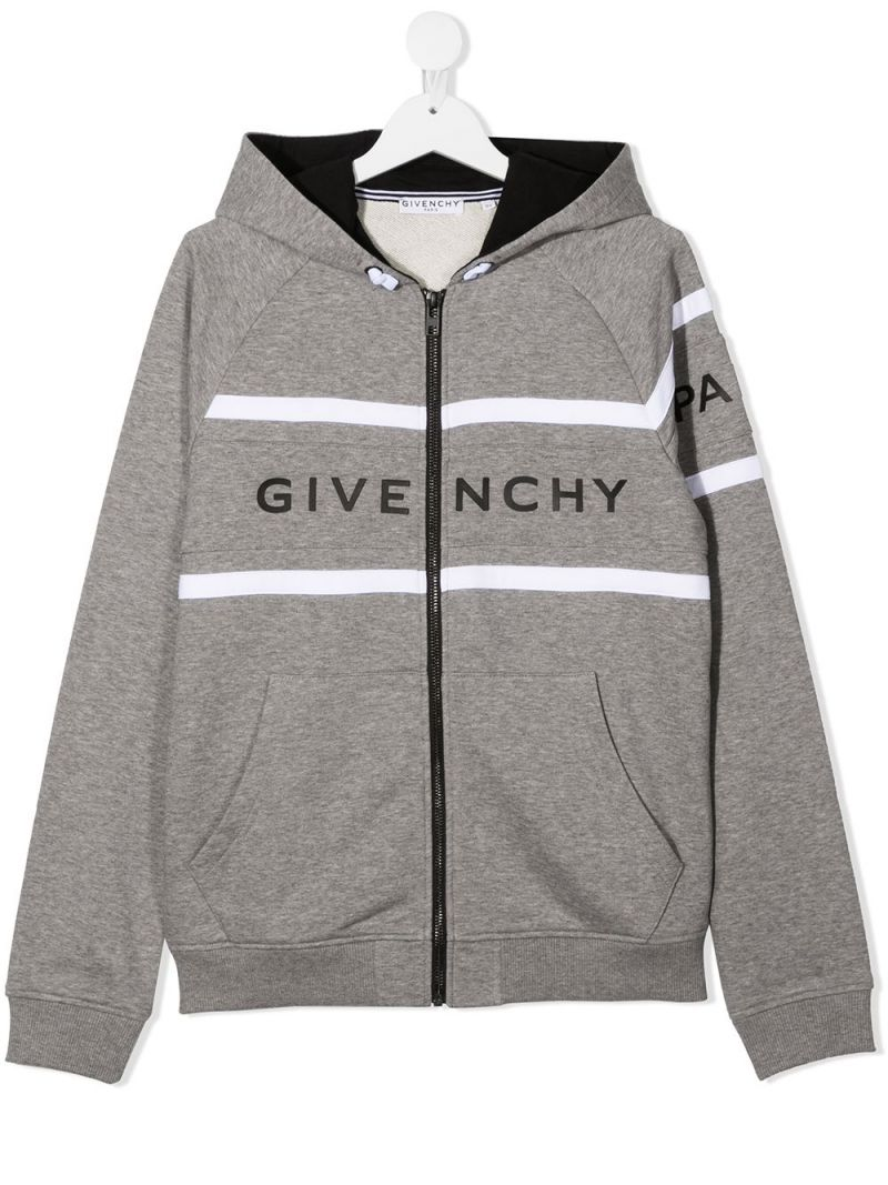 GIVENCHY KIDS: logo print cotton blend hoodie Color Grey_1