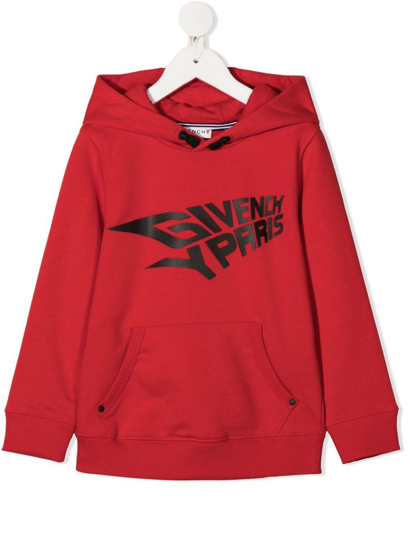 GIVENCHY KIDS: Givenchy Paris print cotton blend hoodie Color Red_1