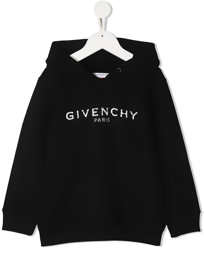 GIVENCHY KIDS: Givenchy Paris print cotton blend hoodie Color Black_1