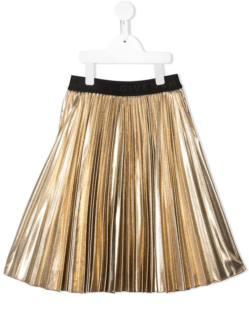 GIVENCHY KIDS: metallized-effect fabric pleated skirt Color Gold_1