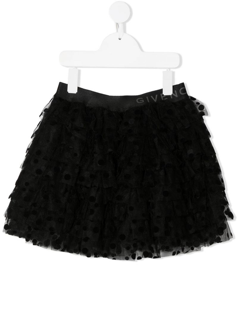 GIVENCHY KIDS: plumetis tulle flounced skirt Color Black_1