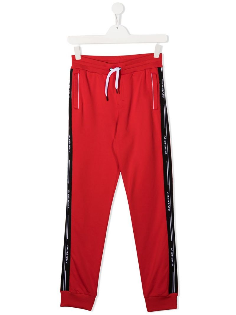 GIVENCHY KIDS: logoed band-detailed technical cotton joggers Color Red_1
