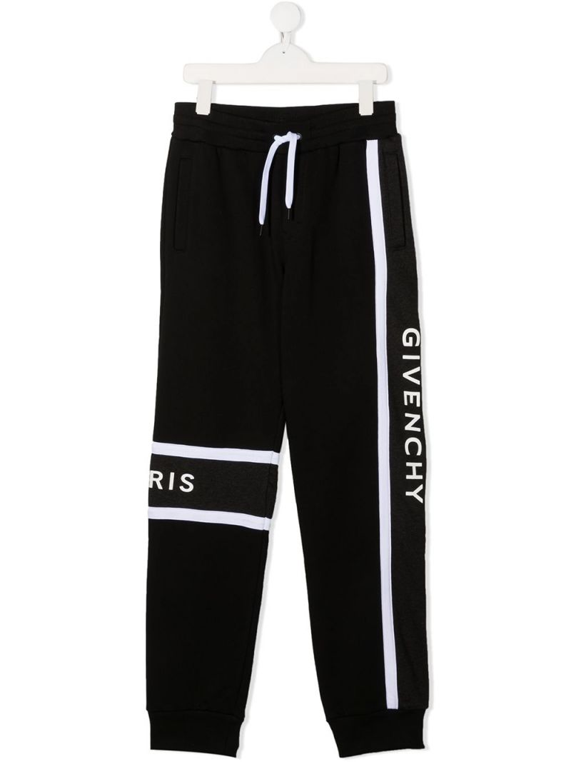 GIVENCHY KIDS: logo print technical cotton joggers Color Black_1