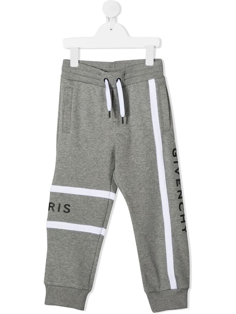 GIVENCHY KIDS: logo print technical cotton joggers Color Grey_1