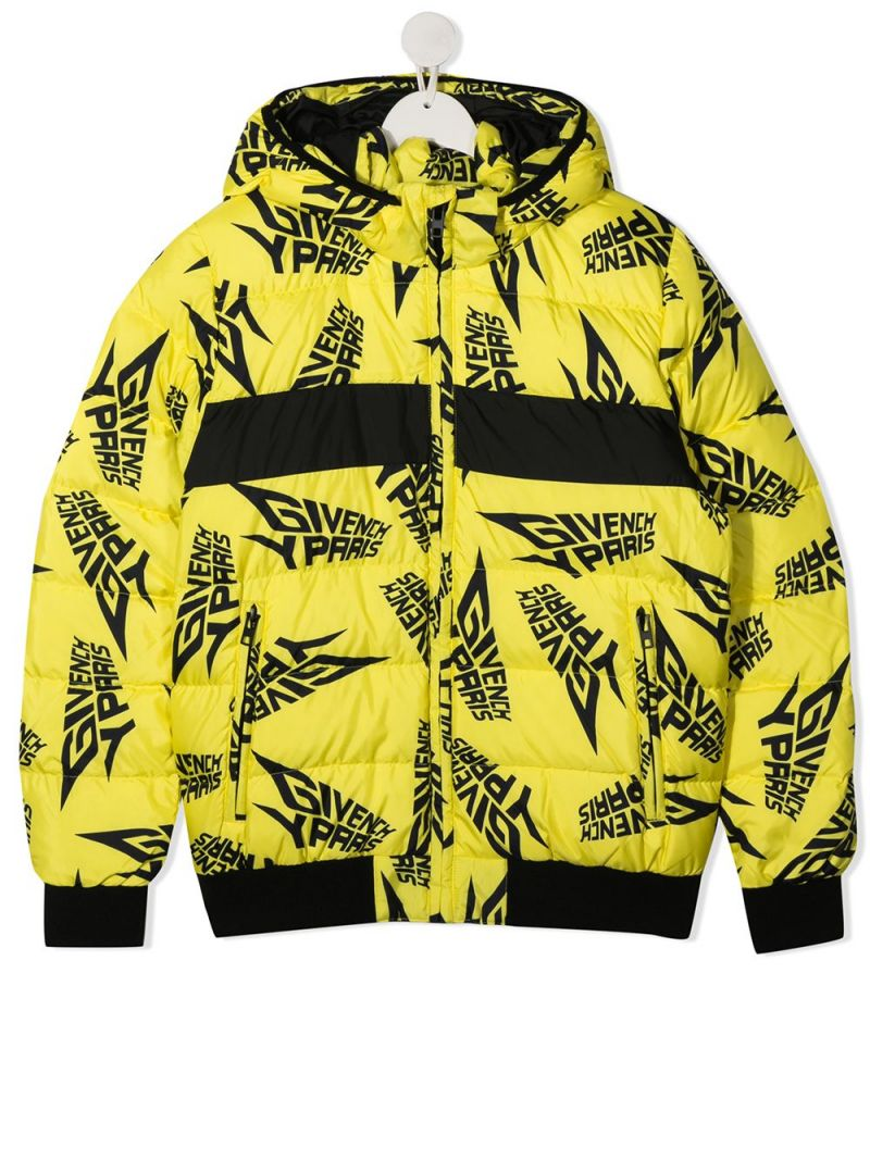 GIVENCHY KIDS: logo print nylon down jacket Color Yellow_1