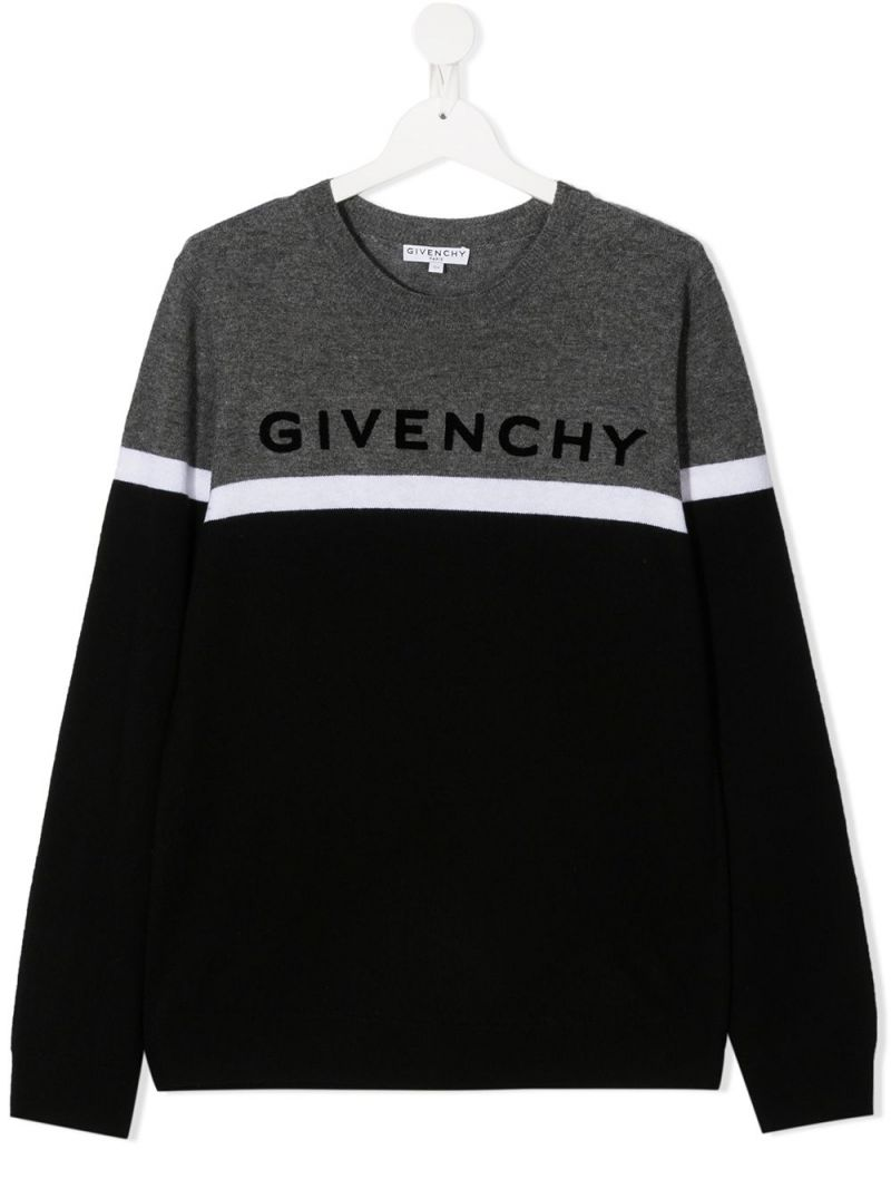 GIVENCHY KIDS: pullover in lana e cashmere ricamo Givenchy Colore Nero_1