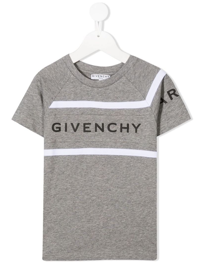GIVENCHY KIDS: Givenchy Paris print cotton t-shirt Color Grey_1