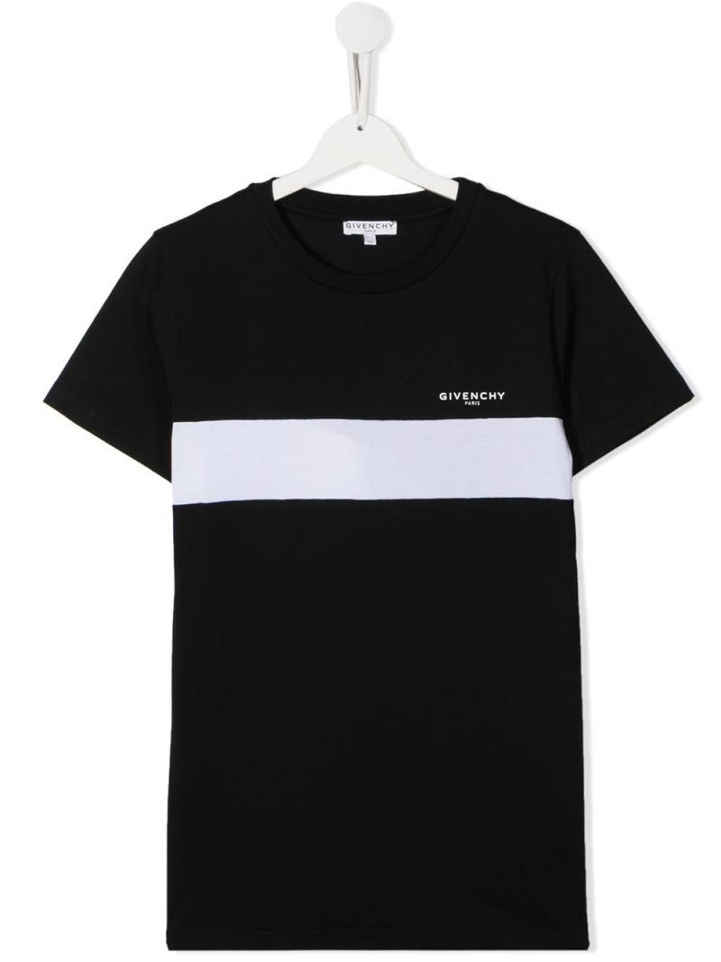 GIVENCHY KIDS: logo print cotton t-shirt Color Black_1