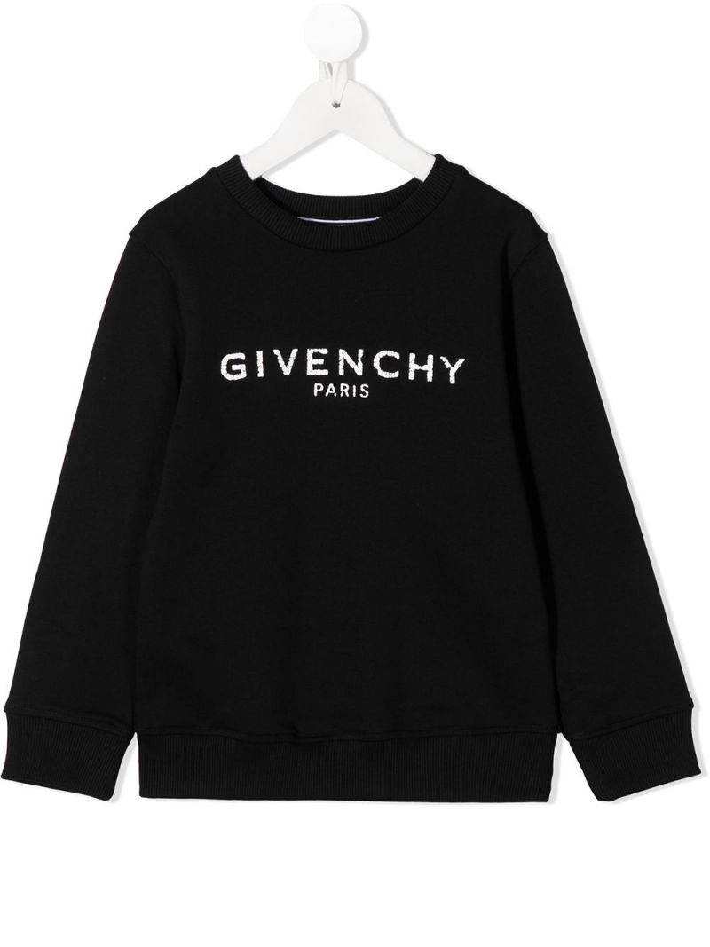 GIVENCHY KIDS: Givenchy Paris print cotton blend sweatshirt Color Black_1