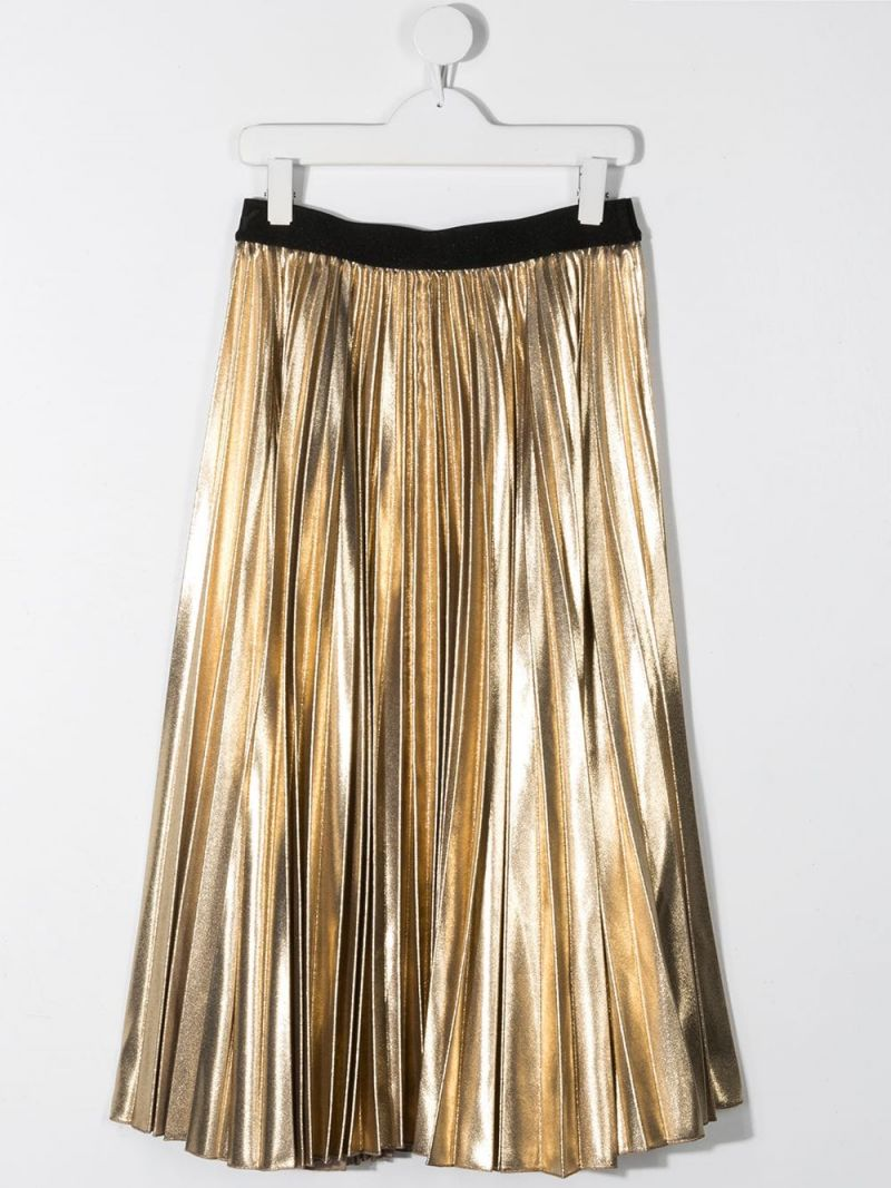 GIVENCHY KIDS: metallized-effect fabric pleated skirt Color Gold_2