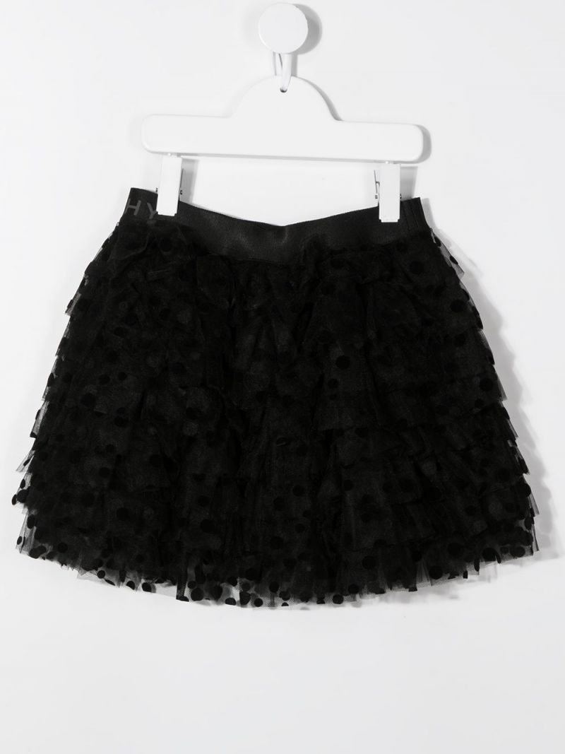GIVENCHY KIDS: gonna a balze in tulle plumetis Colore Nero_2