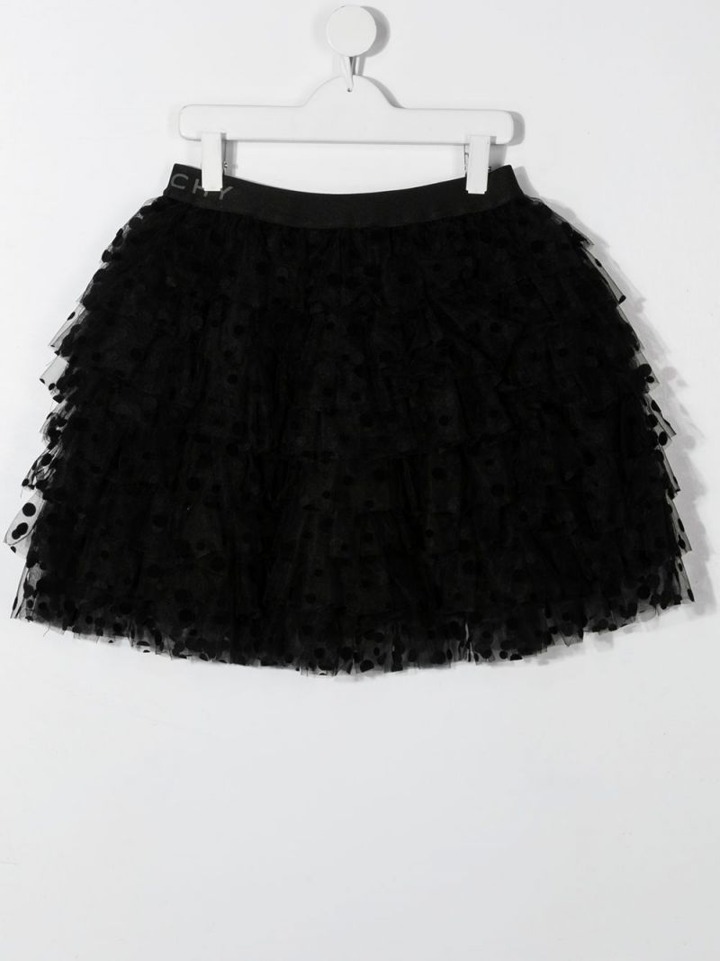 GIVENCHY KIDS: plumetis tulle flounced skirt Color Black_2