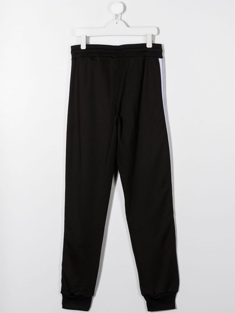 GIVENCHY KIDS: logoed band-detailed technical cotton joggers Color Black_2