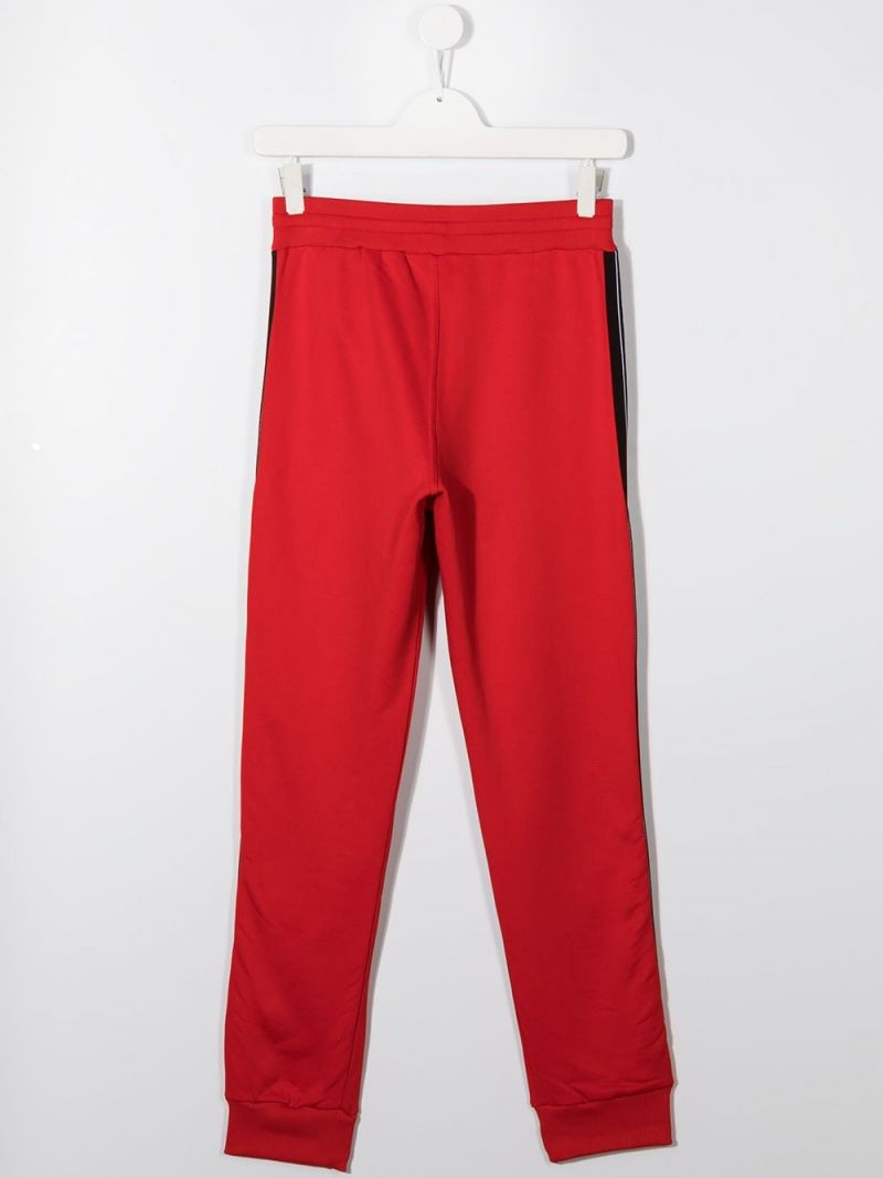 GIVENCHY KIDS: logoed band-detailed technical cotton joggers Color Red_2