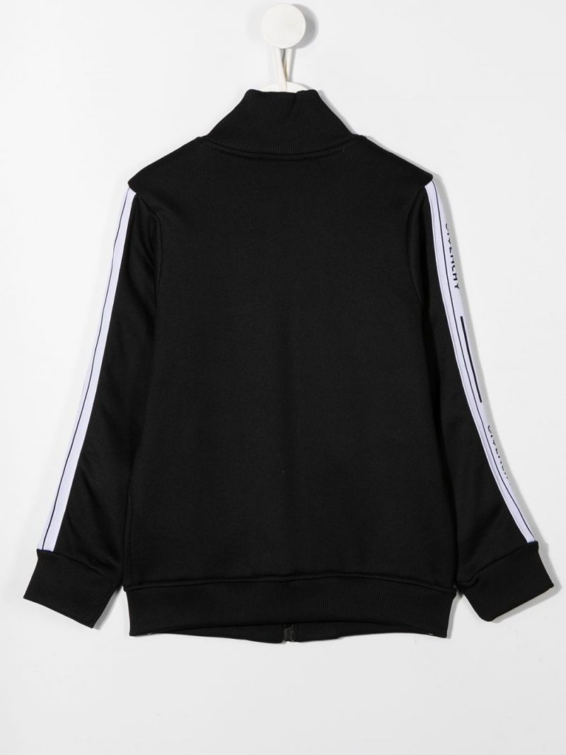 GIVENCHY KIDS: logoed badn-detailed cotton blend full-zip sweatshirt Color Black_2