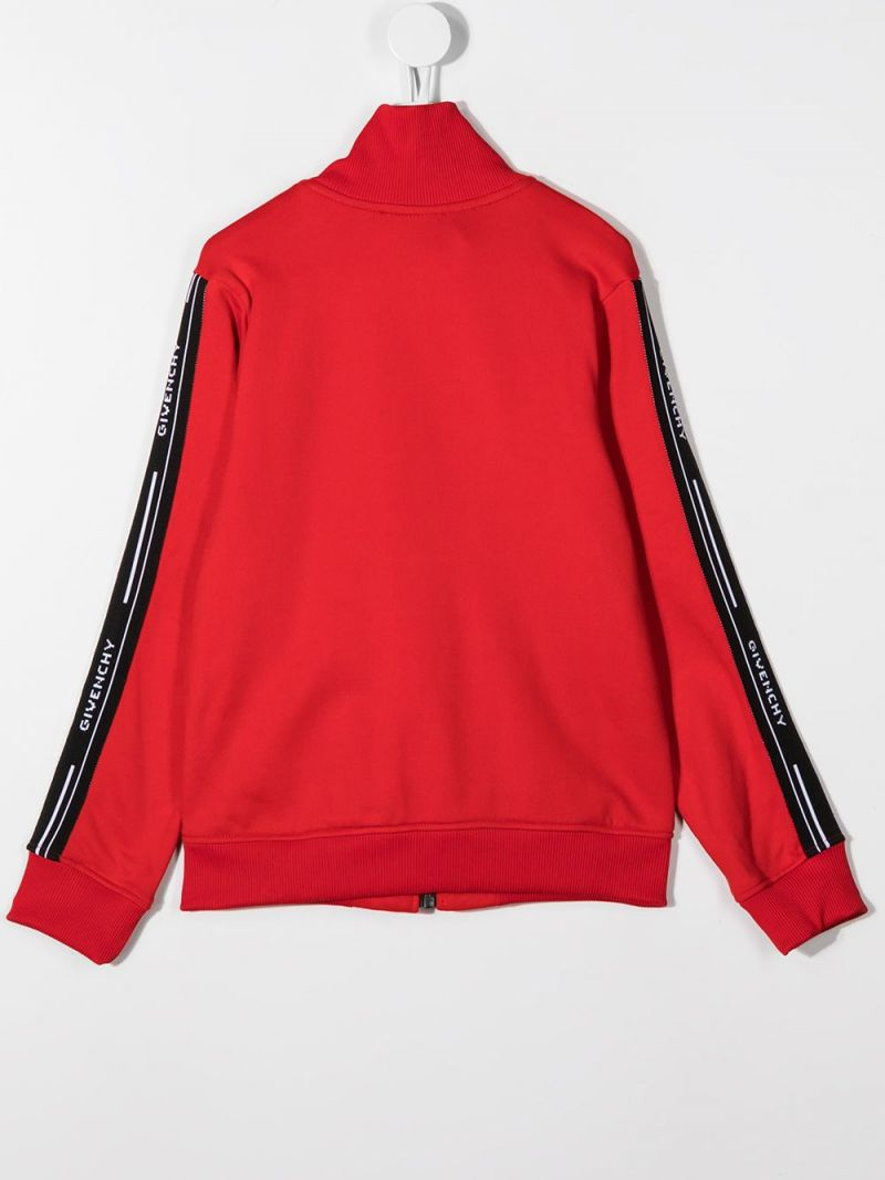 GIVENCHY KIDS: logoed badn-detailed cotton blend full-zip sweatshirt Color Red_2
