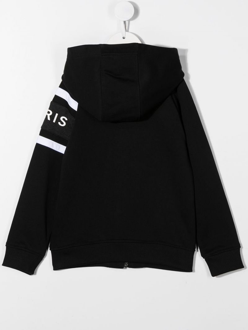 GIVENCHY KIDS: logo print cotton blend hoodie Color Black_2