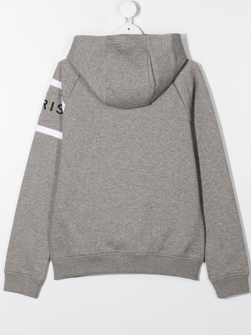 GIVENCHY KIDS: logo print cotton blend hoodie Color Grey_2