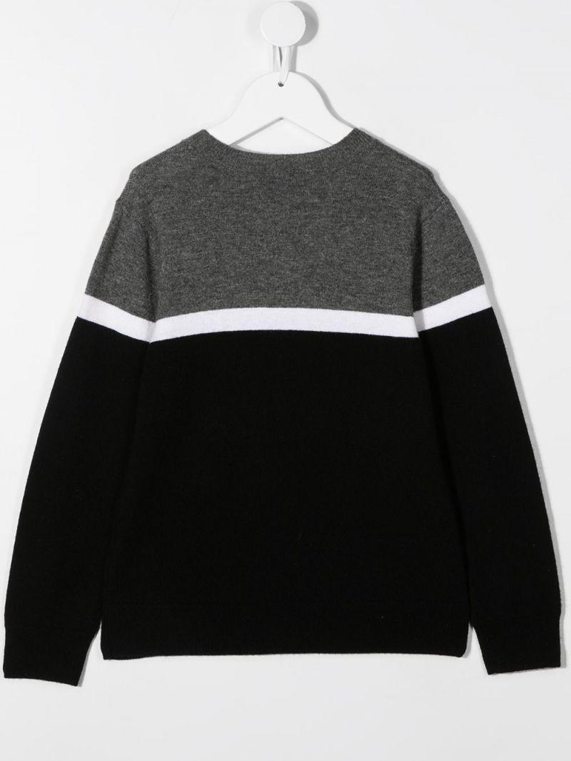 GIVENCHY KIDS: pullover in lana e cashmere ricamo Givenchy Colore Nero_2
