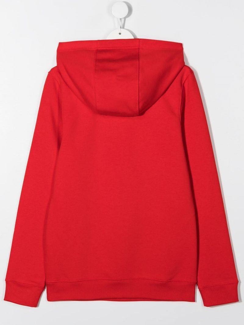 GIVENCHY KIDS: Givenchy Paris print cotton blend hoodie Color Red_2