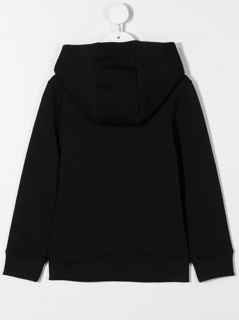GIVENCHY KIDS: Givenchy Paris print cotton blend hoodie Color Black_2