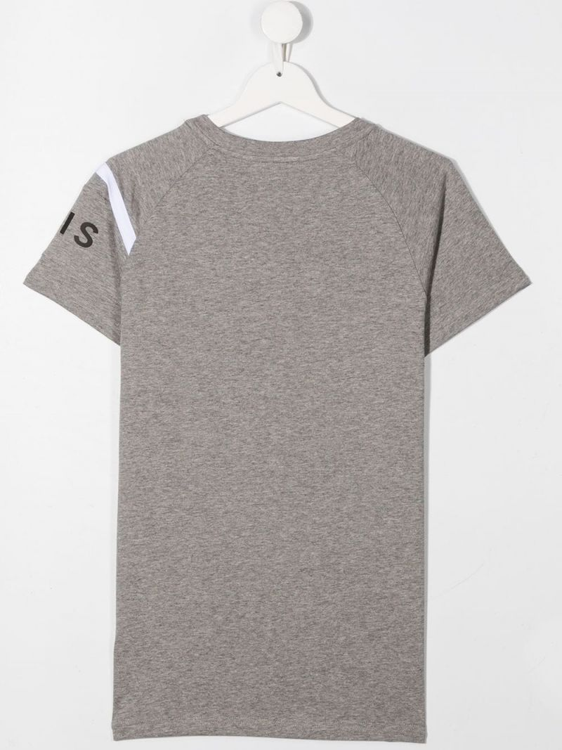 GIVENCHY KIDS: Givenchy Paris print cotton t-shirt Color Grey_2