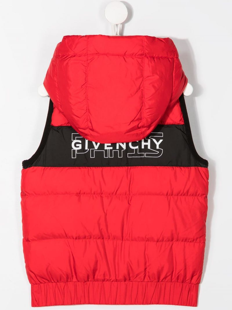 GIVENCHY KIDS: Rare / Spirit print nylon sleeveless down jacket Color Red_2