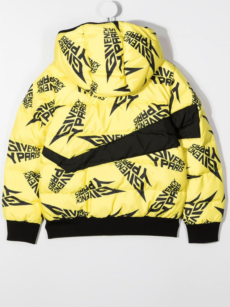 GIVENCHY KIDS: logo print nylon down jacket Color Yellow_2
