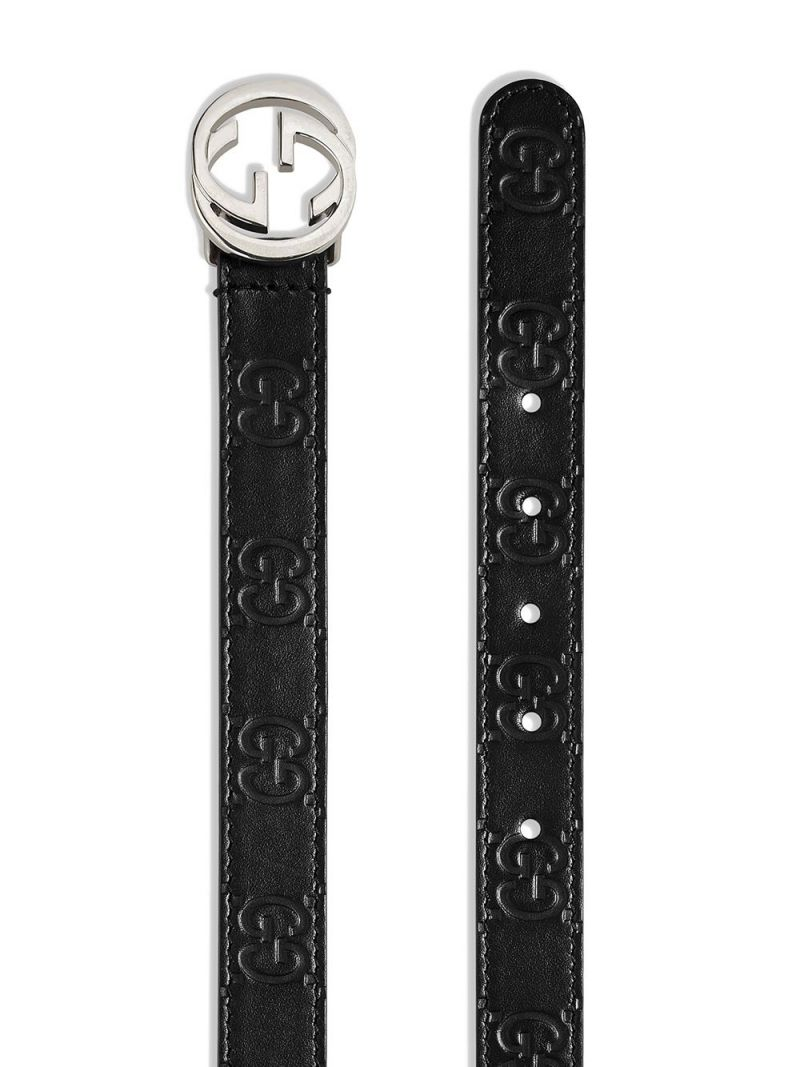 GUCCI CHILDREN: Gucci Signature smooth leather belt Color Black_2