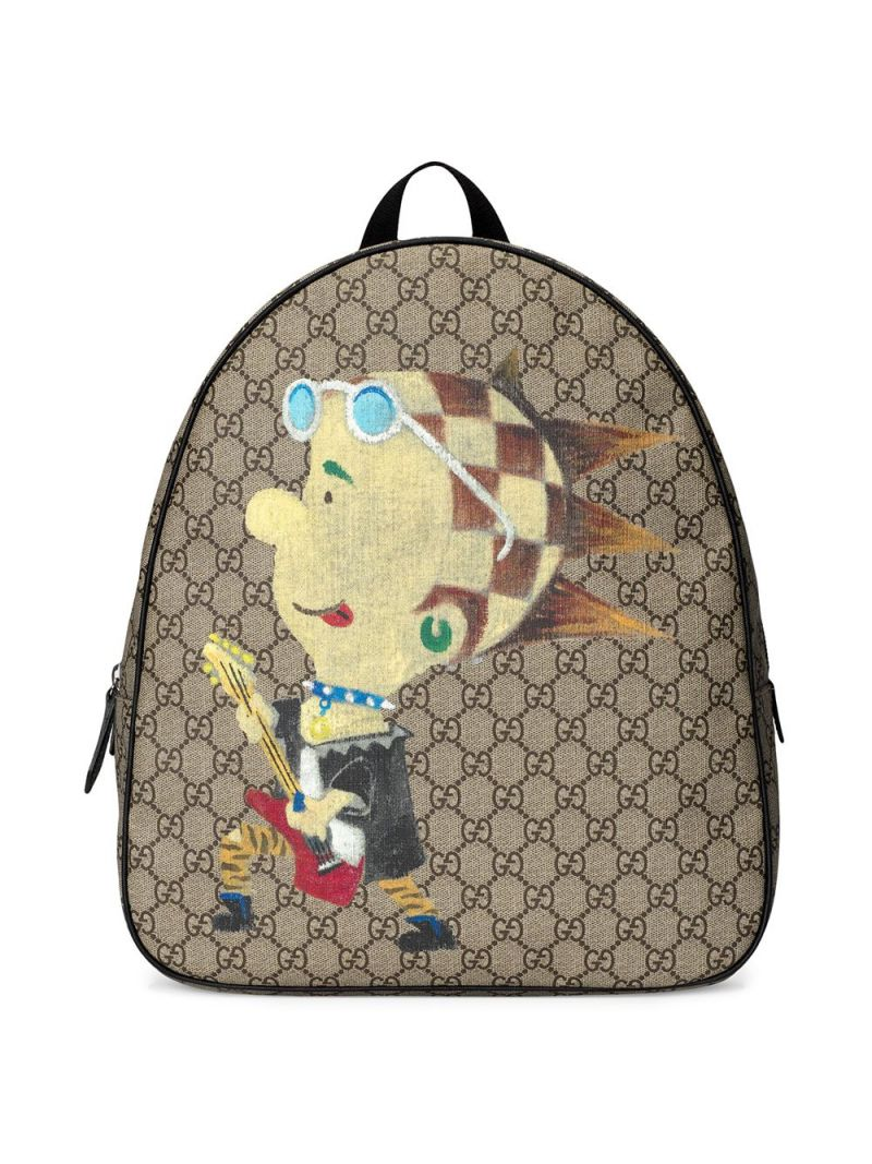GUCCI CHILDREN: punk print GG Supreme canvas backpack Color Multicolor_1