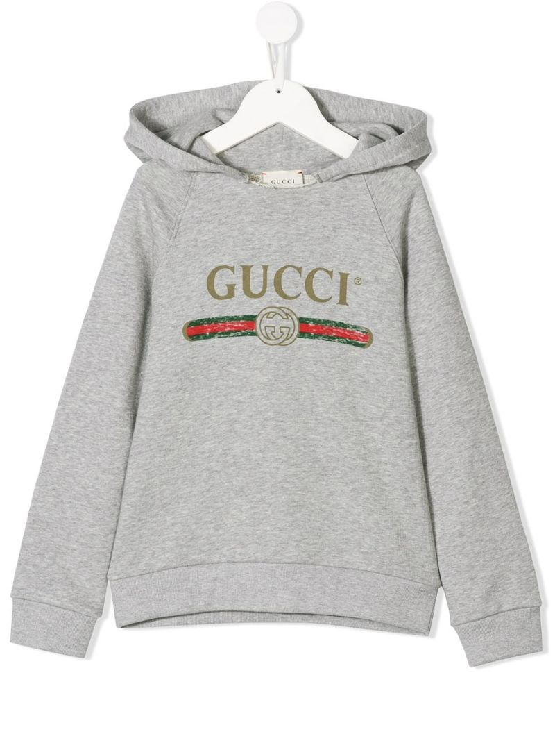 GUCCI CHILDREN: Gucci vintage print cotton hoodie Color Multicolor_1