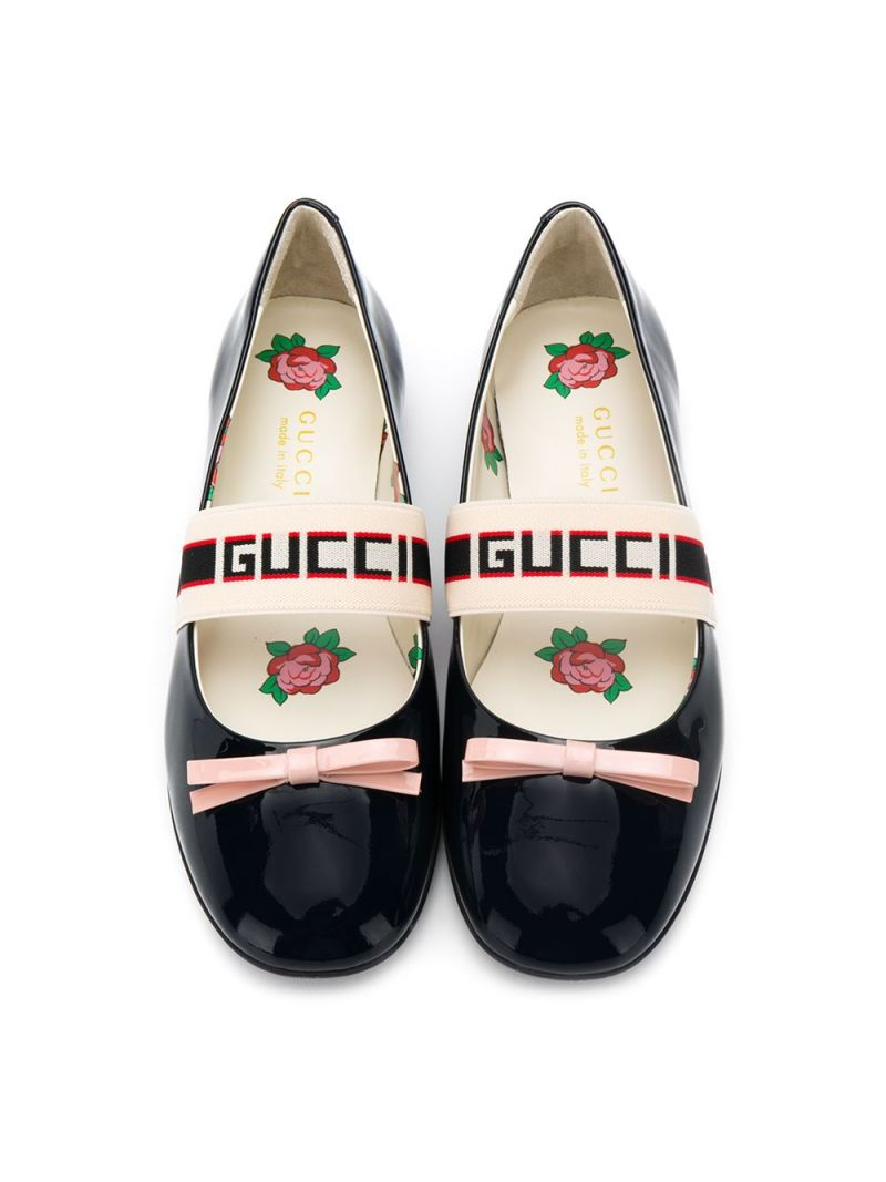 GUCCI CHILDREN: Gucci stripe-detailed patent leather ballerinas Color Blue_2