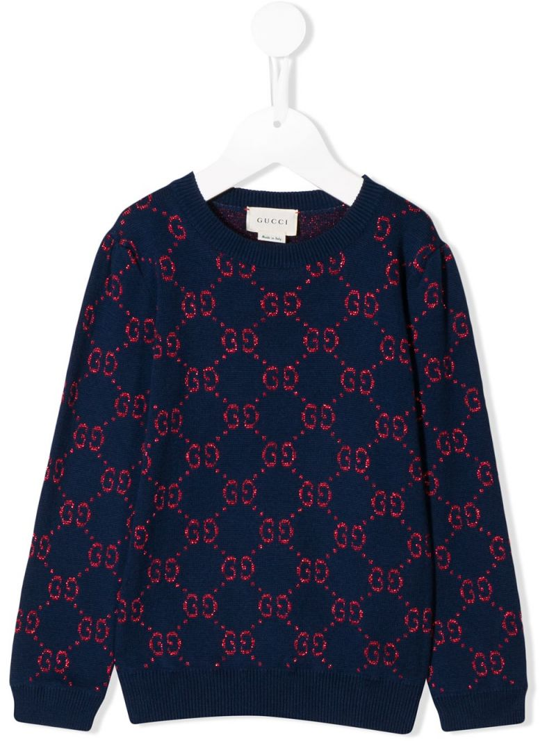 GUCCI CHILDREN: GG cotton and lurex blend pullover Color Multicolor_1