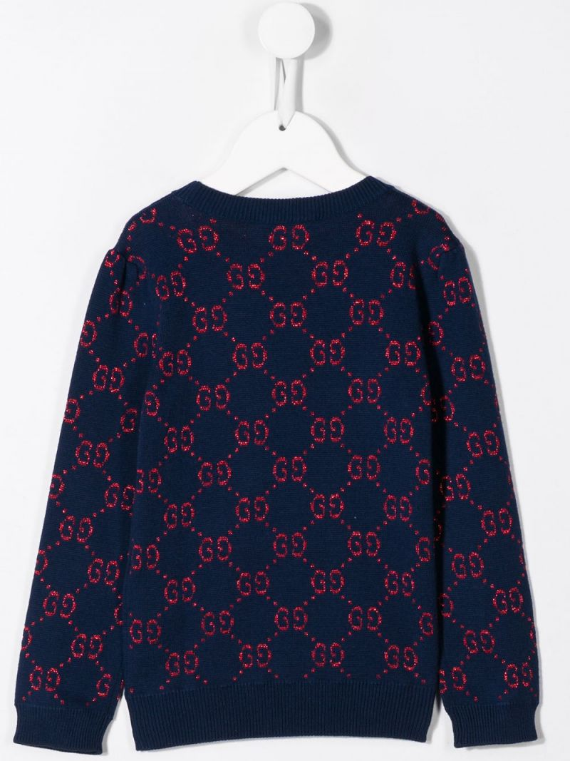 GUCCI CHILDREN: GG cotton and lurex blend pullover Color Multicolor_2