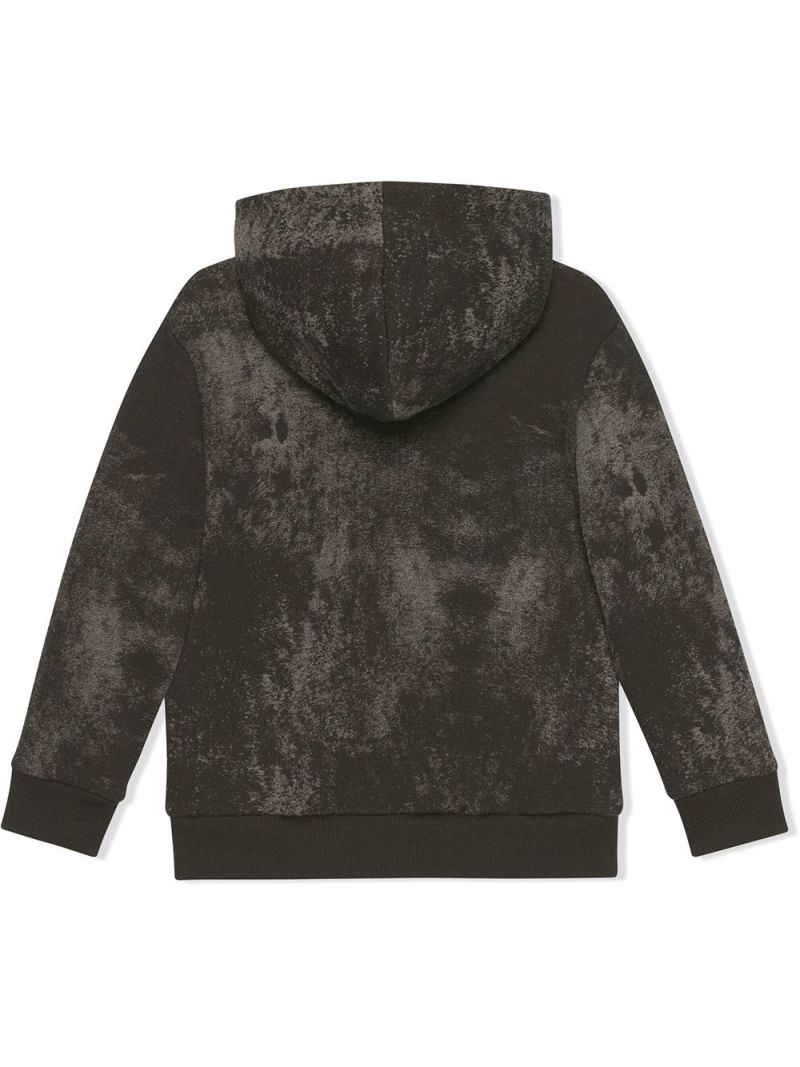 GUCCI CHILDREN: Gucci Web print cotton hoodie Color Grey_2