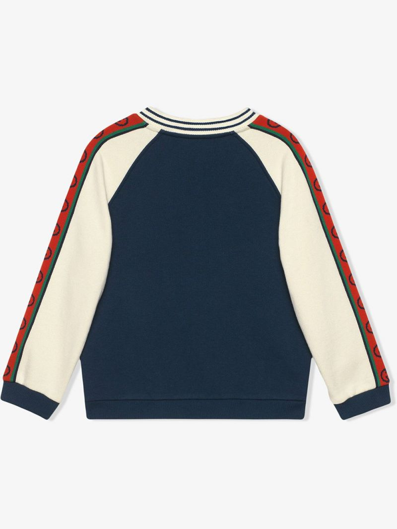 GUCCI CHILDREN: Interlocking G band-detailed cotton sweatshirt_2
