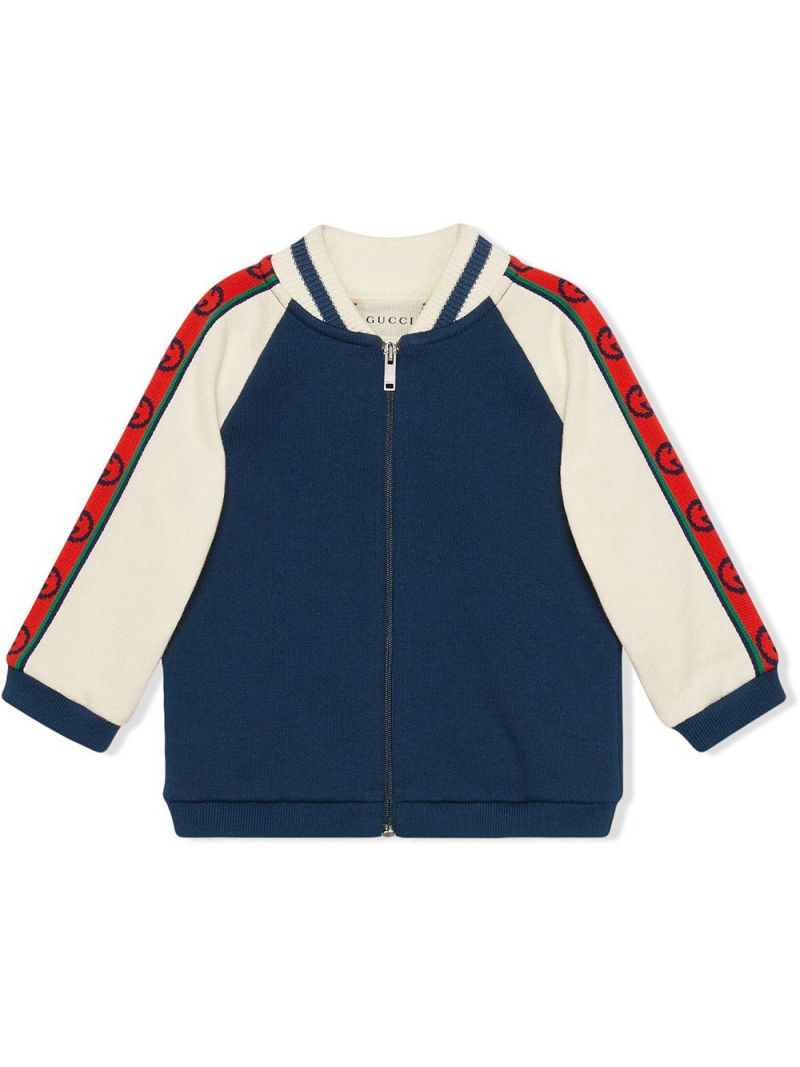 GUCCI CHILDREN: Interlocking G-detailed cotton full-zip sweatshirt Color Blue_1