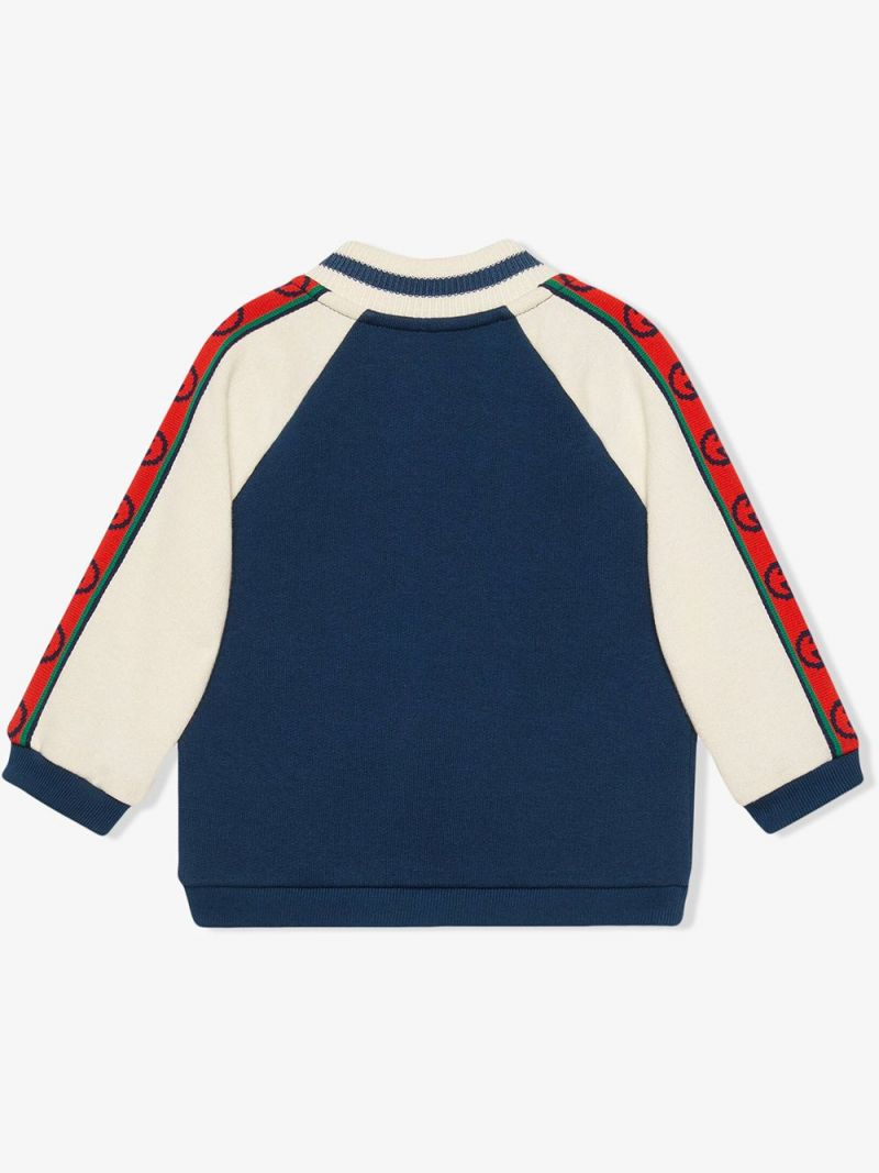 GUCCI CHILDREN: Interlocking G-detailed cotton full-zip sweatshirt Color Blue_2