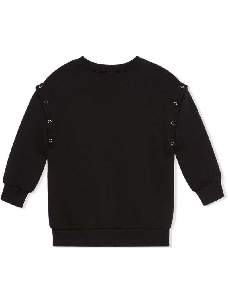 GUCCI CHILDREN: heart print cotton sweatshirt Color Black_2