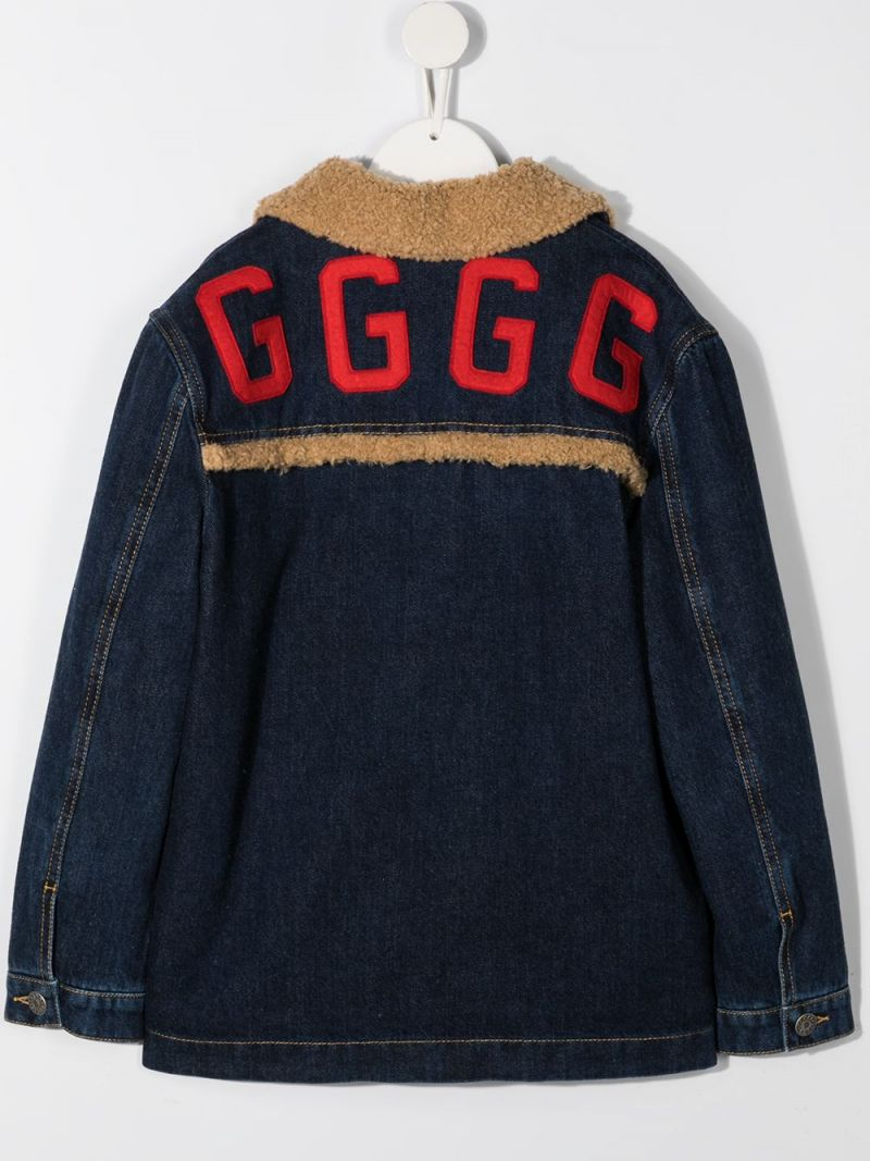 GUCCI CHILDREN: GGGG embroidered denim jacket Color Blue_2