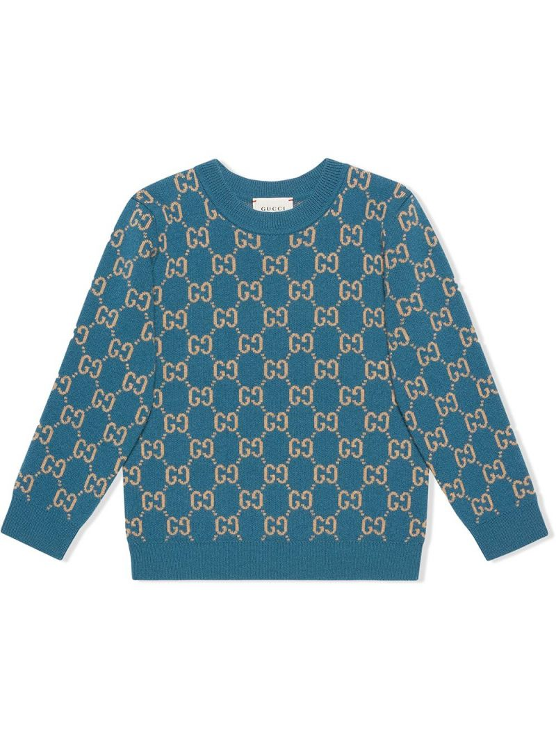 GUCCI CHILDREN: pullover in lana GG Colore Multicolore_1