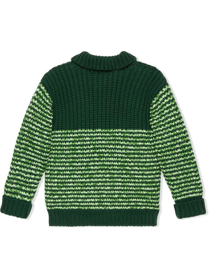 GUCCI CHILDREN: pullover in lana moulinè patch GG Colore Verde_2