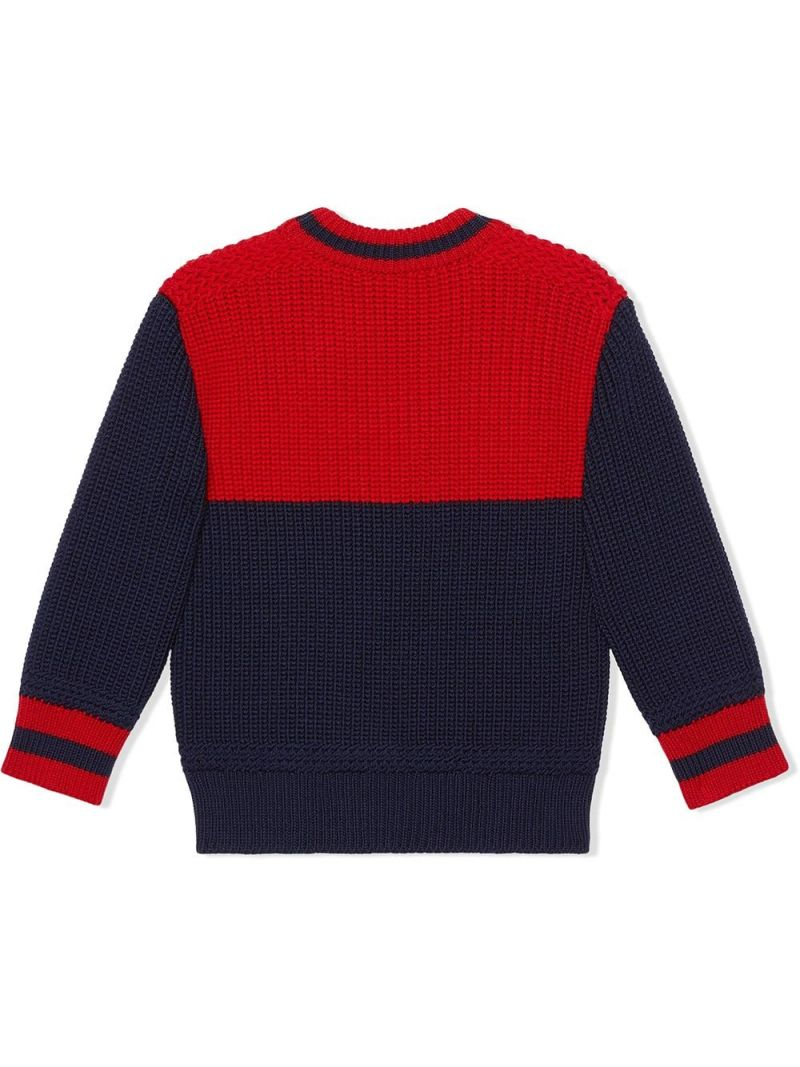 GUCCI CHILDREN: pullover in lana patch Gucci Colore Blu_2