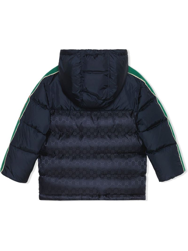 GUCCI CHILDREN: Gucci band-detailed nylon down jacket Color Blue_2