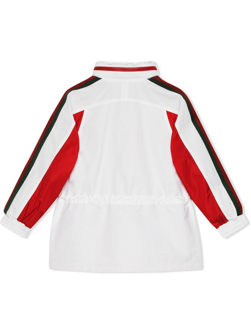 GUCCI CHILDREN: logo patch technical cotton windbreaker Color White_2