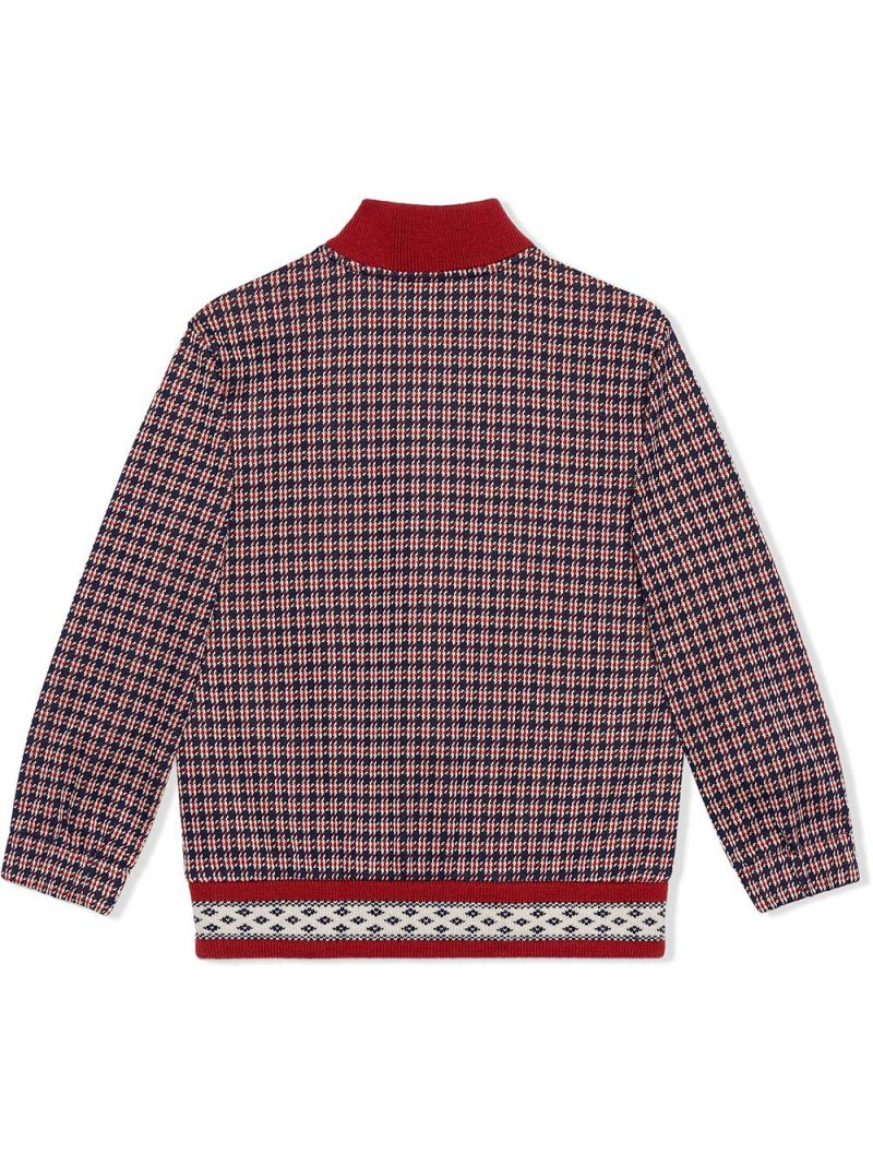 GUCCI CHILDREN: houndstooth-motif cotton bomber jacket Color Blue_2