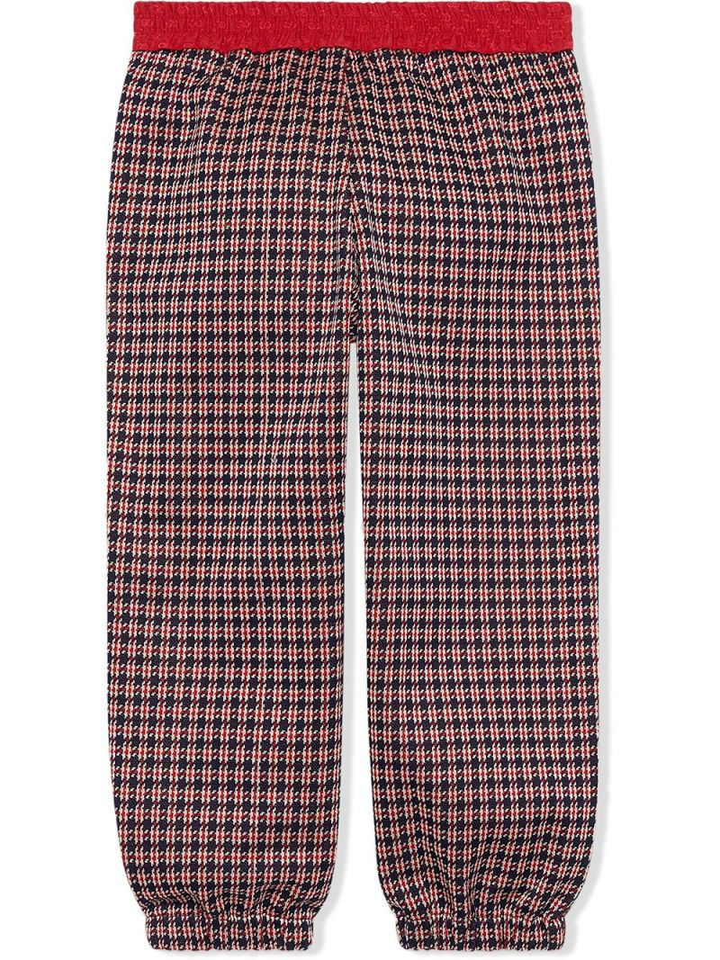 GUCCI CHILDREN: houndstooth-motif cotton joggers Color Blue_2