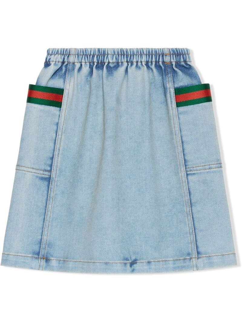 GUCCI CHILDREN: Web-detailed stretch denim skirt Color Blue_2