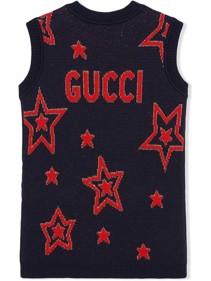 GUCCI CHILDREN: star wool jacquard tunic dress Color Multicolor_2