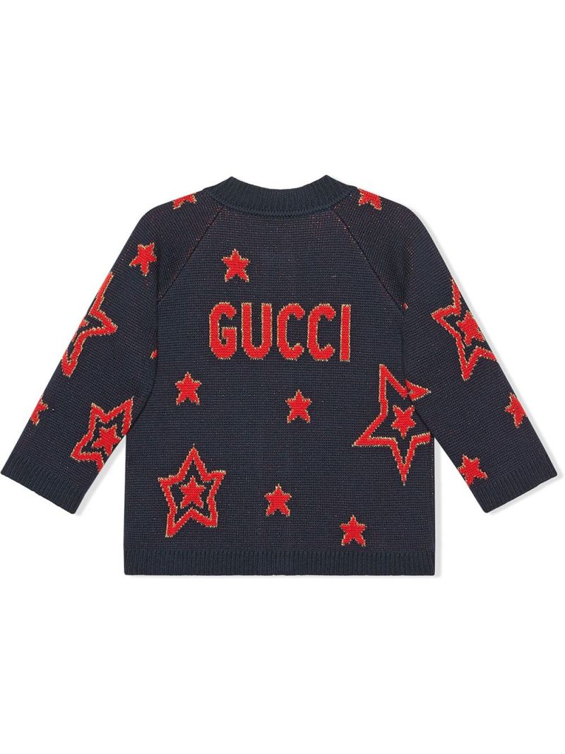 GUCCI CHILDREN: star wool jacquard cardigan Color Multicolor_2